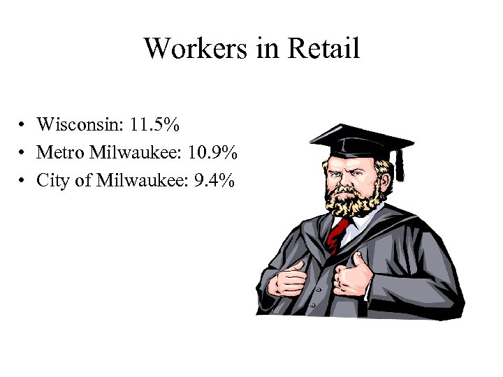 Workers in Retail • Wisconsin: 11. 5% • Metro Milwaukee: 10. 9% • City