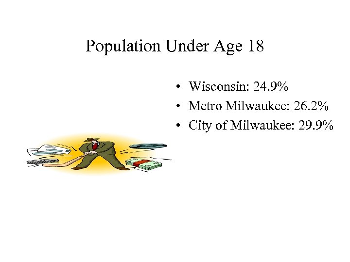 Population Under Age 18 • Wisconsin: 24. 9% • Metro Milwaukee: 26. 2% •