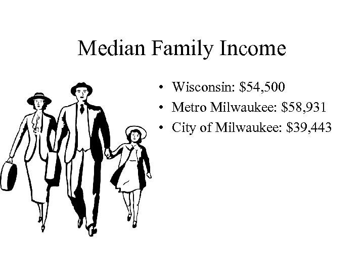 Median Family Income • Wisconsin: $54, 500 • Metro Milwaukee: $58, 931 • City