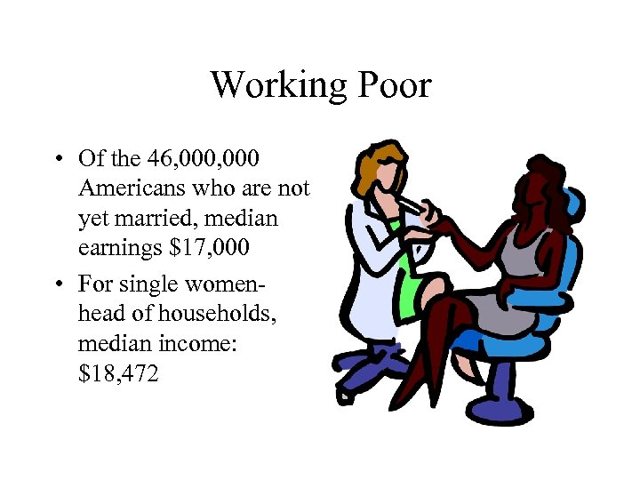 Working Poor • Of the 46, 000 Americans who are not yet married, median