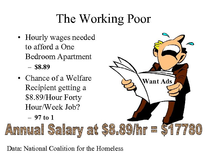 The Working Poor • Hourly wages needed to afford a One Bedroom Apartment –