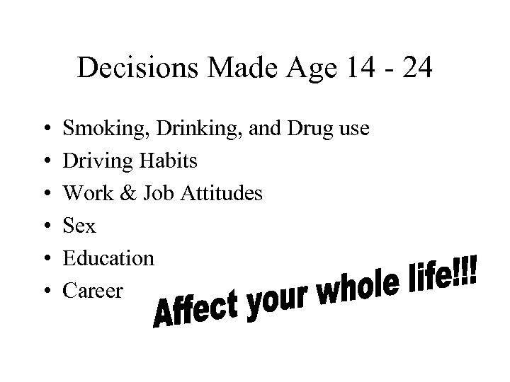 Decisions Made Age 14 - 24 • • • Smoking, Drinking, and Drug use