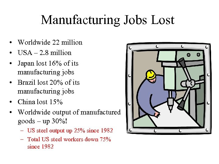 Manufacturing Jobs Lost • Worldwide 22 million • USA – 2. 8 million •