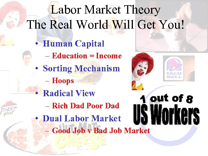 Labor Market Theory The Real World Will Get You! • Human Capital – Education
