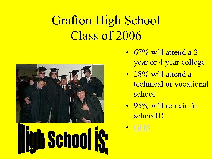 Grafton High School Class of 2006 • 67% will attend a 2 year or