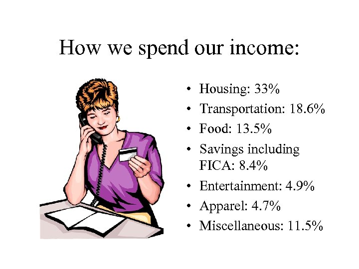 How we spend our income: • • Housing: 33% Transportation: 18. 6% Food: 13.