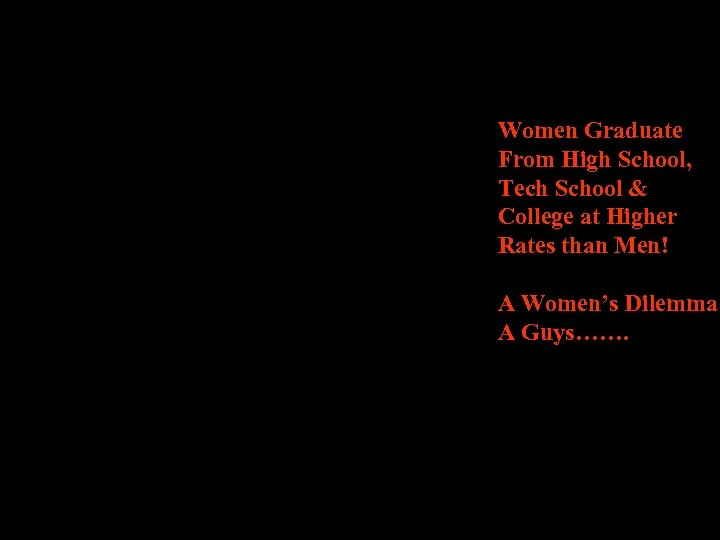 Women Graduate From High School, Tech School & College at Higher Rates than Men!