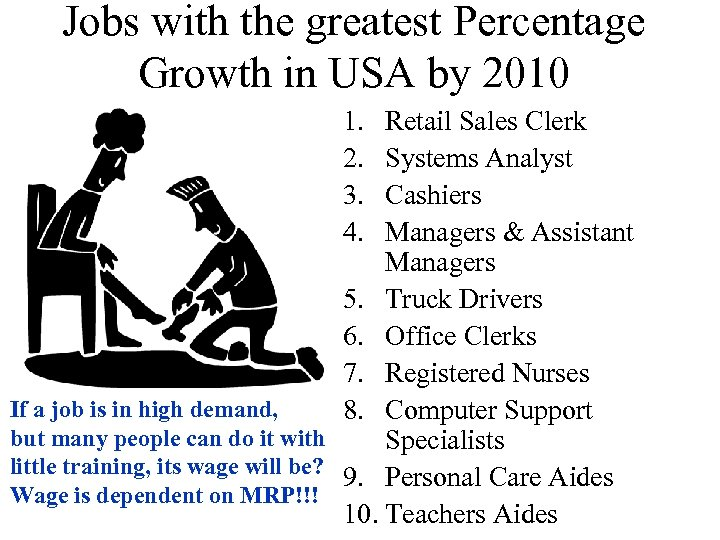 Jobs with the greatest Percentage Growth in USA by 2010 1. 2. 3. 4.
