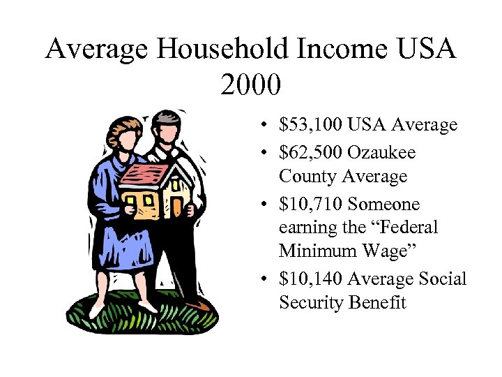 Average Household Income USA 2000 • $53, 100 USA Average • $62, 500 Ozaukee