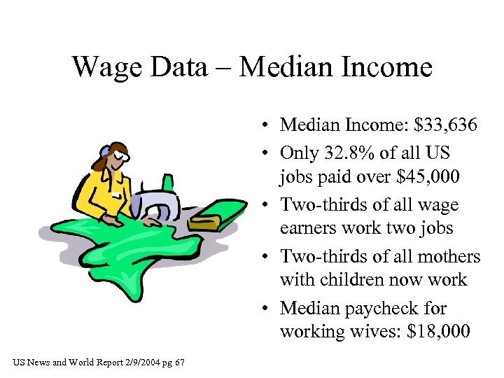 Wage Data – Median Income • Median Income: $33, 636 • Only 32. 8%