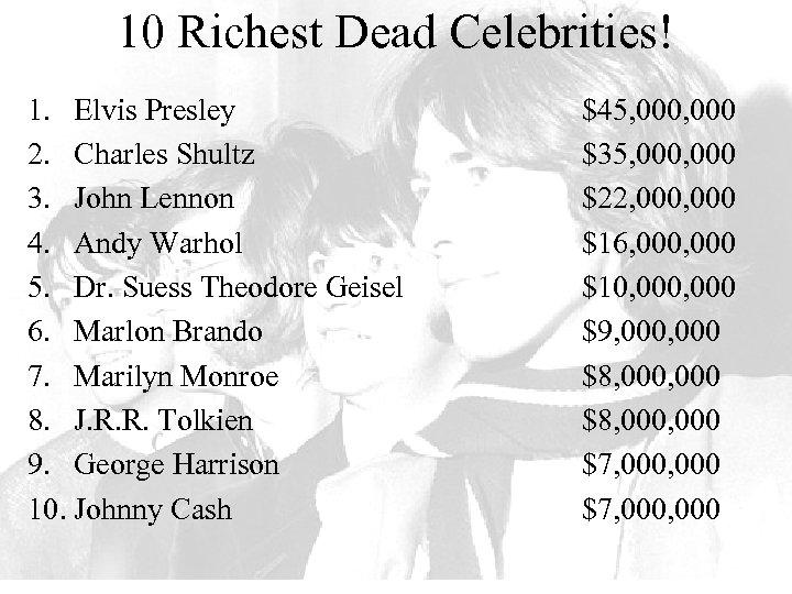 10 Richest Dead Celebrities! 1. Elvis Presley 2. Charles Shultz 3. John Lennon 4.