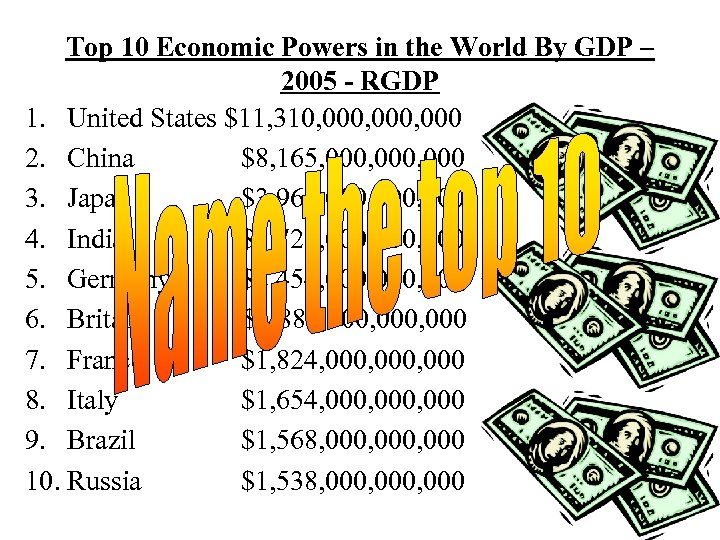 Top 10 Economic Powers in the World By GDP – 2005 - RGDP 1.