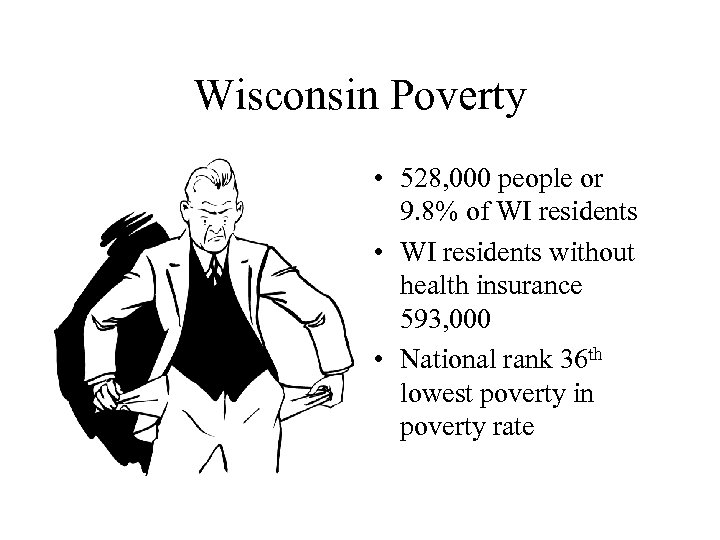 Wisconsin Poverty • 528, 000 people or 9. 8% of WI residents • WI
