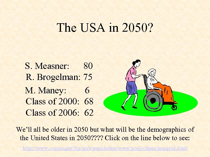 The USA in 2050? S. Measner: 80 R. Brogelman: 75 M. Maney: 6 Class