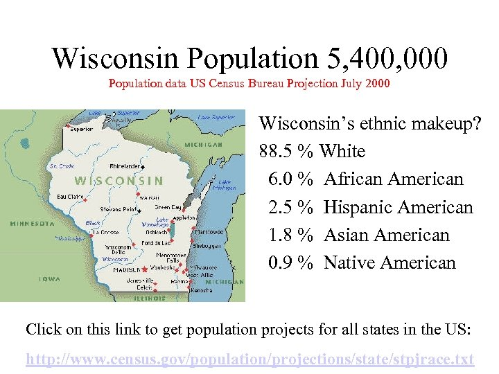 Wisconsin Population 5, 400, 000 Population data US Census Bureau Projection July 2000 Wisconsin's
