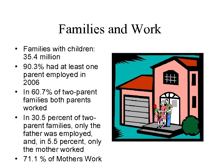 Families and Work • Families with children: 35. 4 million • 90. 3% had