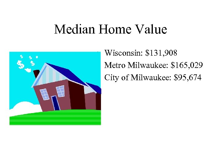 Median Home Value • Wisconsin: $131, 908 • Metro Milwaukee: $165, 029 • City