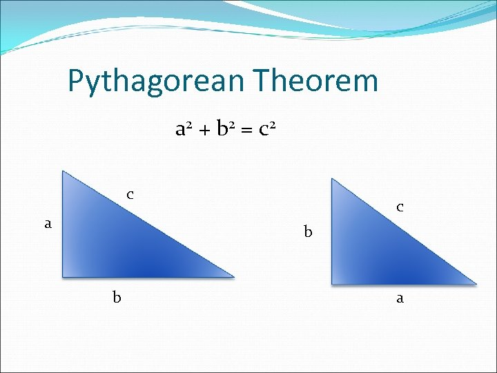 Pythagorean Theorem a 2 + b 2 = c 2 c a c b