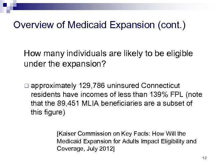 Overview of Medicaid Expansion (cont. ) How many individuals are likely to be eligible