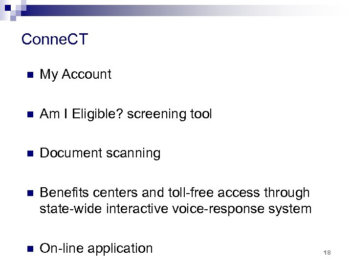 Conne. CT n My Account n Am I Eligible? screening tool n Document scanning