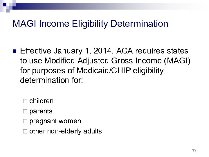 MAGI Income Eligibility Determination n Effective January 1, 2014, ACA requires states to use