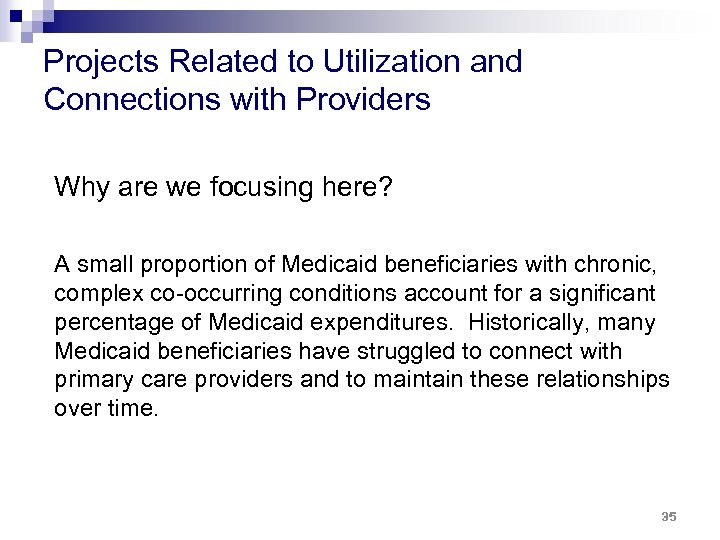 Projects Related to Utilization and Connections with Providers Why are we focusing here? A