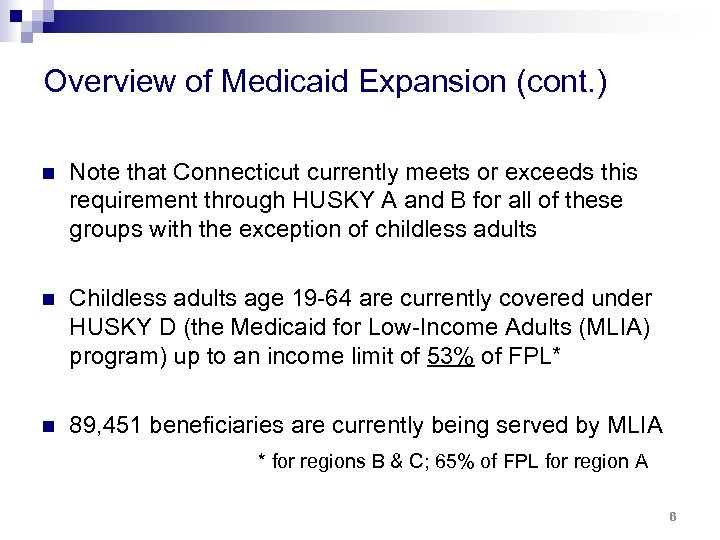 Overview of Medicaid Expansion (cont. ) n Note that Connecticut currently meets or exceeds