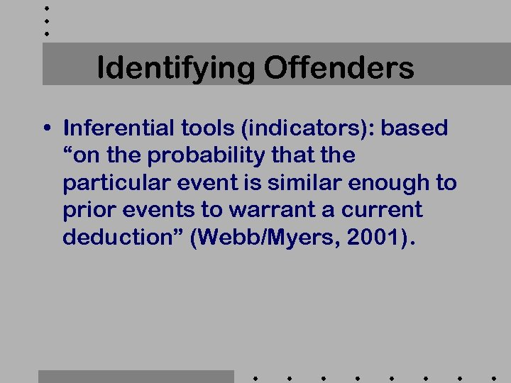 "Identifying Offenders • Inferential tools (indicators): based ""on the probability that the particular event"