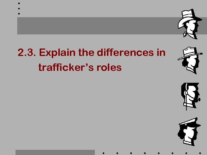 2. 3. Explain the differences in trafficker's roles