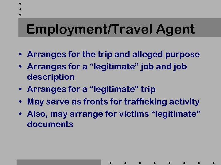 Employment/Travel Agent • Arranges for the trip and alleged purpose • Arranges for a
