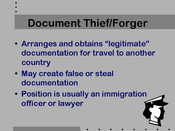 "Document Thief/Forger • Arranges and obtains ""legitimate"" documentation for travel to another country •"