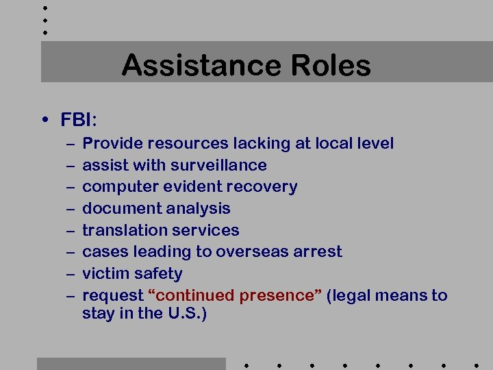 Assistance Roles • FBI: – – – – Provide resources lacking at local level