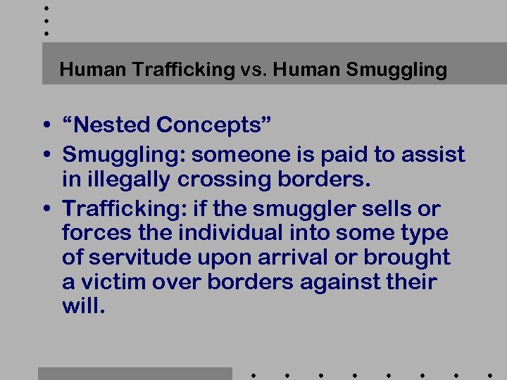 "Human Trafficking vs. Human Smuggling • ""Nested Concepts"" • Smuggling: someone is paid to"