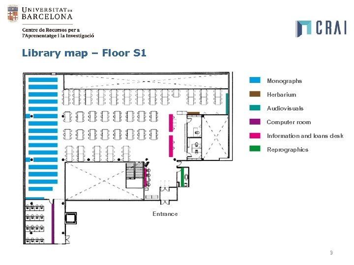 Library map – Floor S 1 Monographs Herbarium Audiovisuals Computer room Information and loans