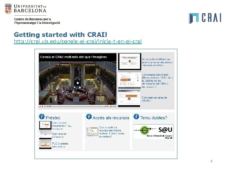 Getting started with CRAI! http: //crai. ub. edu/coneix-el-crai/inicia-t-en-el-crai 6
