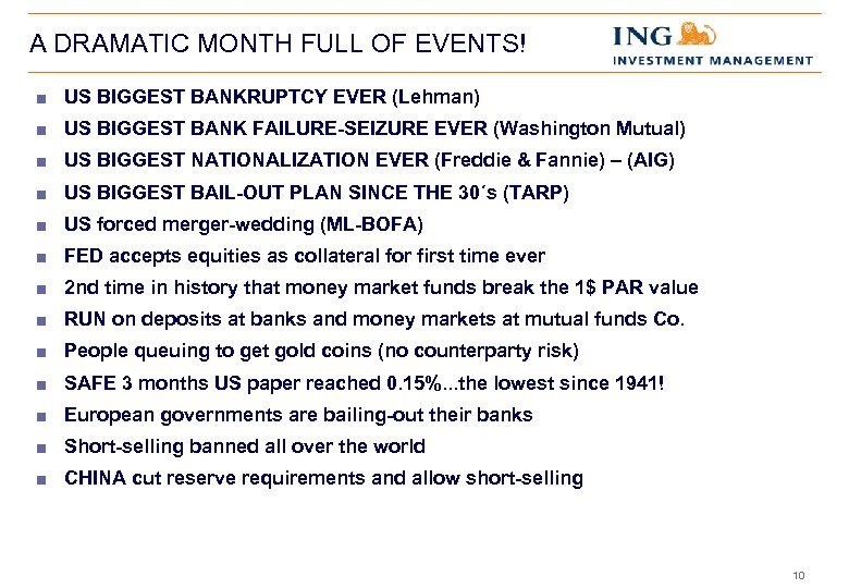 A DRAMATIC MONTH FULL OF EVENTS! < US BIGGEST BANKRUPTCY EVER (Lehman) < US