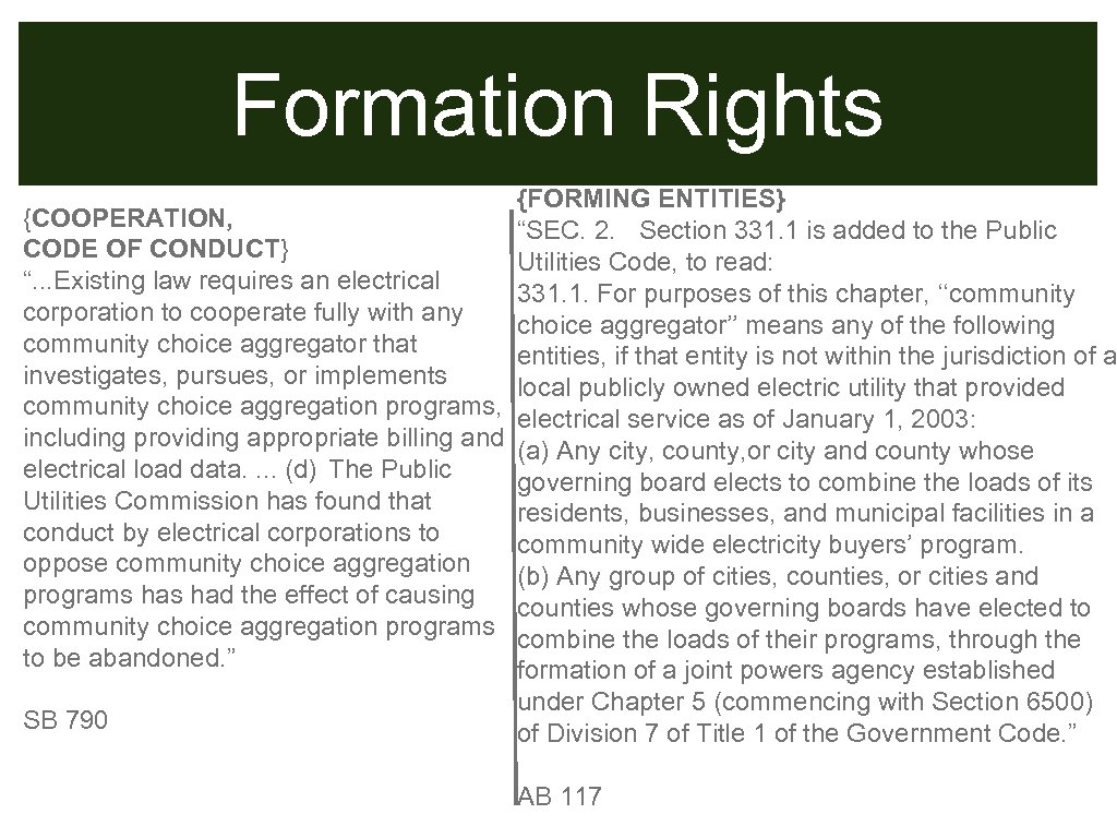 "Formation Rights {FORMING ENTITIES} {COOPERATION, ""SEC. 2. Section 331. 1 is added to the"
