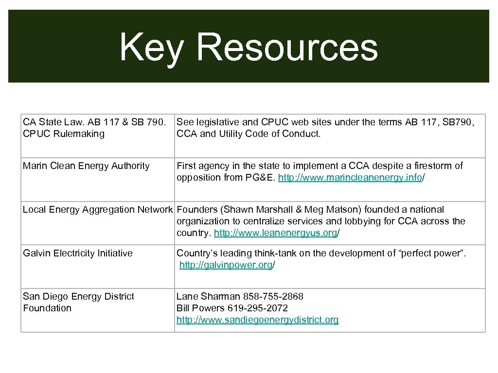 Key Resources CA State Law. AB 117 & SB 790. CPUC Rulemaking See legislative
