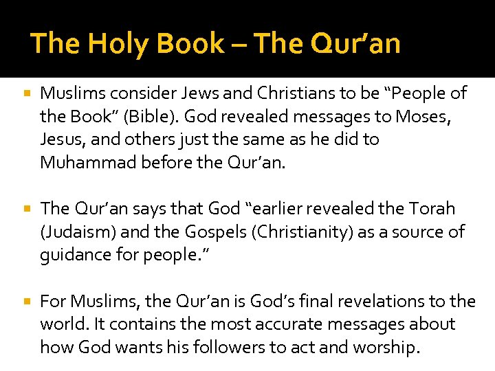 """The Holy Book – The Qur'an Muslims consider Jews and Christians to be """"People"""