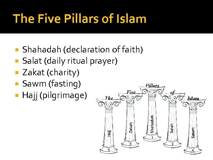The Five Pillars of Islam Shahadah (declaration of faith) Salat (daily ritual prayer) Zakat
