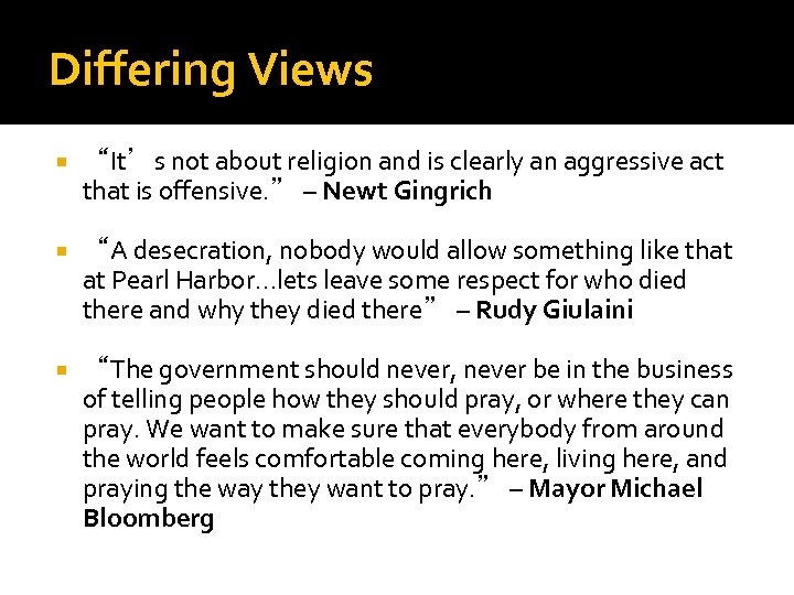 """Differing Views """"It's not about religion and is clearly an aggressive act that is"""