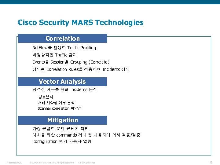 Cisco Security MARS Technologies • Correlation Net. Flow를 활용한 Traffic Profiling 비정상적인 Traffic 감지