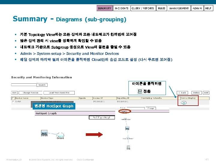 Summary - Diagrams (sub-grouping) § 기본 Topology View에는 모든 장비와 모든 네트워크가 한꺼번에 보여짐