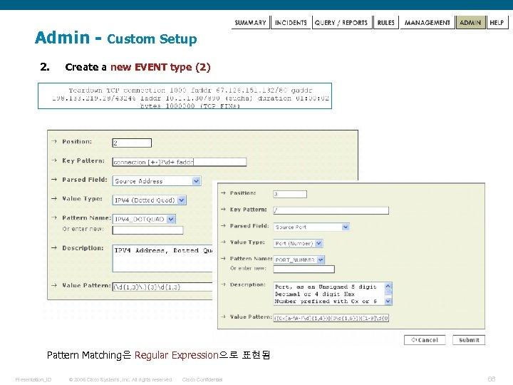 Admin 2. Custom Setup Create a new EVENT type (2) Pattern Matching은 Regular Expression으로