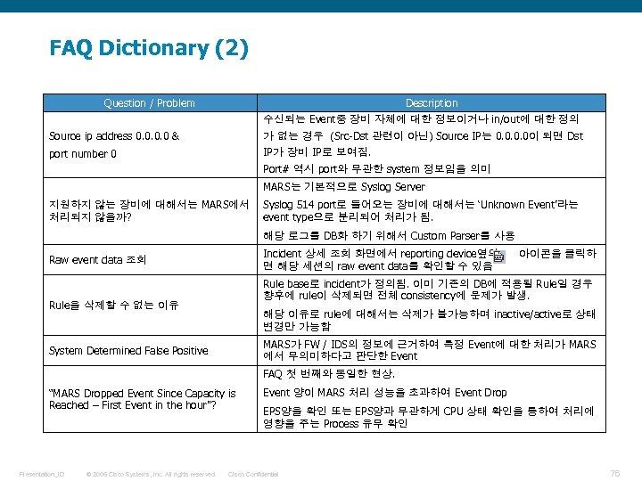 FAQ Dictionary (2) Question / Problem Description 수신되는 Event중 장비 자체에 대한 정보이거나 in/out에