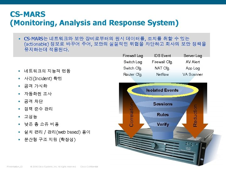 CS-MARS (Monitoring, Analysis and Response System) § CS-MARS는 네트워크와 보안 장비로부터의 원시 데이터를, 조치를