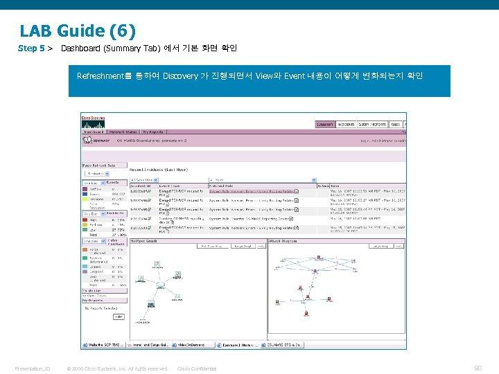 LAB Guide (6) Step 5 > Dashboard (Summary Tab) 에서 기본 화면 확인 Refreshment를