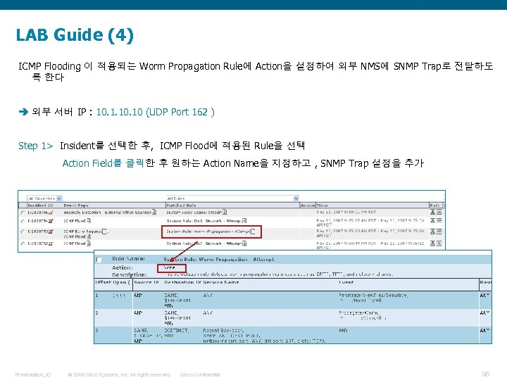 LAB Guide (4) ICMP Flooding 이 적용되는 Worm Propagation Rule에 Action을 설정하여 외부 NMS에