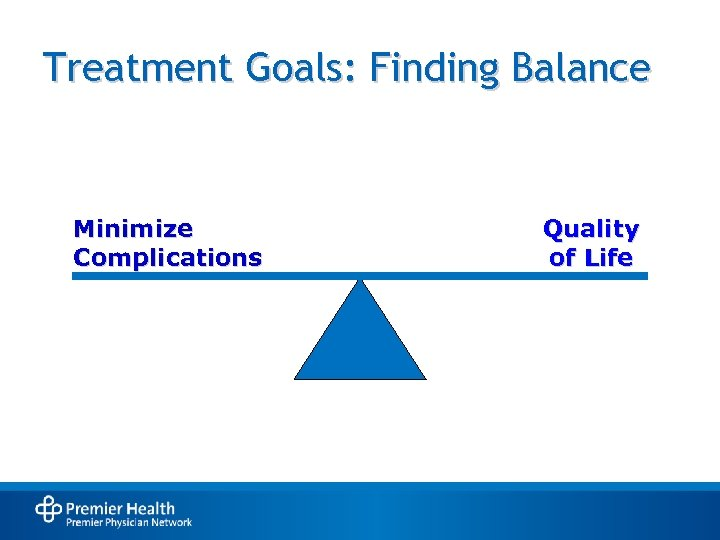 Treatment Goals: Finding Balance Minimize Complications Quality of Life