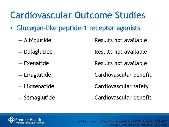 Cardiovascular Outcome Studies • Glucagon-like peptide-1 receptor agonists – Albiglutide Results not available –
